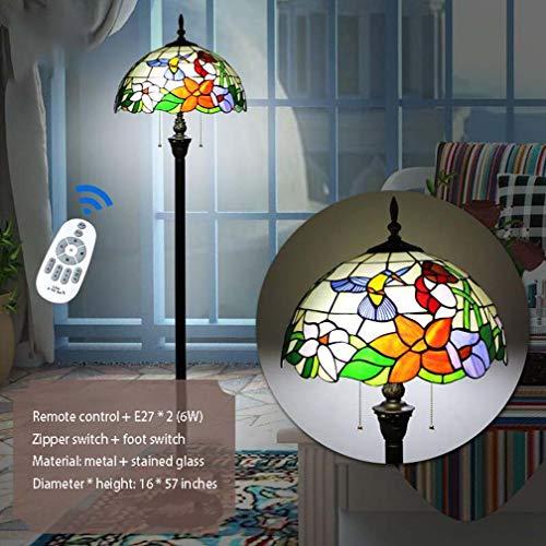Vloerlamp Tiffany-stijl 57 inch hoogte groen violet vitrail lampenkap Papagei 2 lampen antiek brons basis metalen basis met smart afstandsbediening voor woonkamer leeslamp