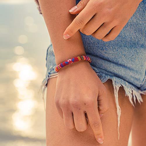 Made by Nami Boho Surfer-Armband Damen & Herren - Handmade Strand Festival Accessoires - Ethno Hippie Style Schmuck - 100% Wasserfest & Verstellbar - Freundschaftsarmbänder Bunt Mädchen R (Rot)