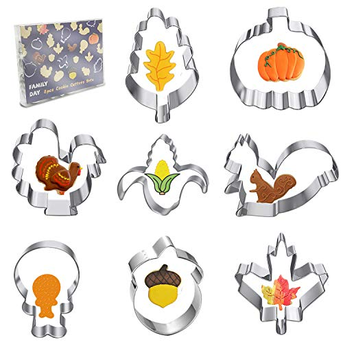 Fall Thanksgiving Large Cookie Cutters Set - 8 Pcs - Pumpkin, Turkey, Maple Leaf, Oak Leaf, Turkey Leg, Squirrel and Acorn, Corn - Stainless Steel Biscuit Fondant Cutters