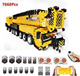 PEXL Technic Grúa Móvil Liebherr LTM1500-9.1 Set de Construcción, 1:20 2.4G/App RC Maqueta Camión Grúa Todoterreno para Construir, 7068 Bloques y 12 Motor