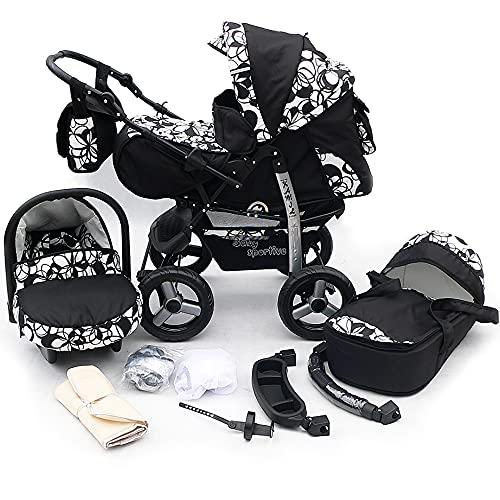 Kinderwagen Schwarz mit weißen Blumen 3in1 mit Autositz Babyschale oder 2in1, Kombikinderwagen, Buggy, Sportwagen. (2in1 ohne Babyschale)