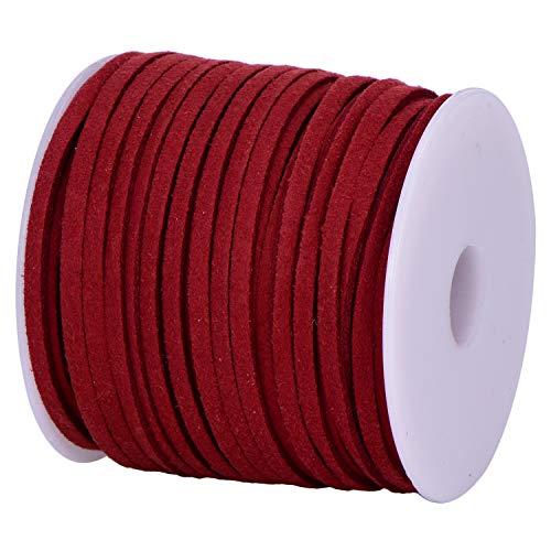 DonDon Veloursband 3 mm DIY 30 Meter Velours Rolle - Bordeauxrot
