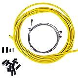 Qinhum Cable de Freno de Bicicleta Conjunto de Carcasa de Cable de Cambio de Bicicleta Kits de Tubo de Línea de Freno para Bicicleta de Montaña Y Carretera (Amarillo)