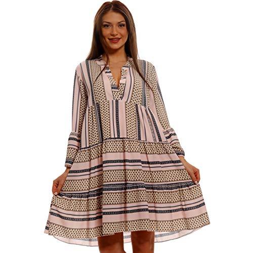 Damen Tunika Sommer Kleid mit Streifen Retro Ethno und Paisley Muster Boho Hippie-Minikleid für Freizeit Strand oder Party Für Frauen mit Kurven HP339 Made in Italy One Size (One Size, Rosa)