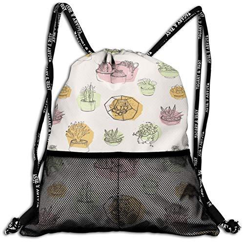 Drawstring Backpack Succulents Growing In Pots Waterproof Sports Gym Bag Lightweight String Bag Cinch Sack With Mesh Front Pockets For Men Women Children Teens