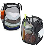 2 Pack - SimpleHouseware Mesh Pop-Up Laundry Hamper Basket with Side Pocket, Black