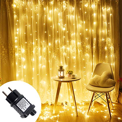 Froadp 6×3M LED Lichtervorhang 8 Modi mit Speicherfunktion Beleuchtung Deko Lichterkette für Hochzeit Party Weihnachten Halloween Innen Dekoration(600 LEDs, Warmweiß)