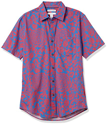 Amazon Essentials Slim-Fit Short-Sleeve Casual Poplin Shirt Camicia, Rosso/Blu Grande Floreale, L