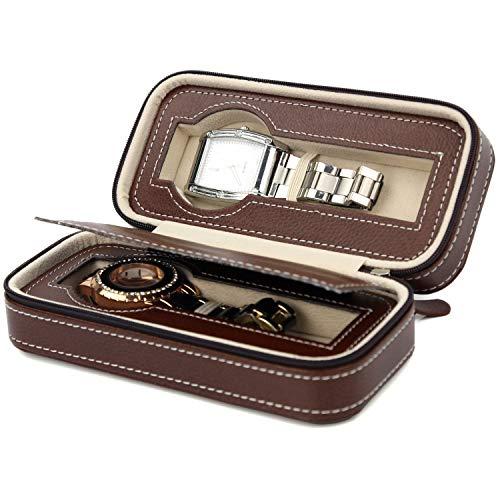 LIANGSM Caja de reloj de piel sintética, caja de despacho de reloj, caja de almacenamiento de reloj, estuche organizador de piel sintética para hombres y mujeres, 2 ranuras, exquisito y duradero