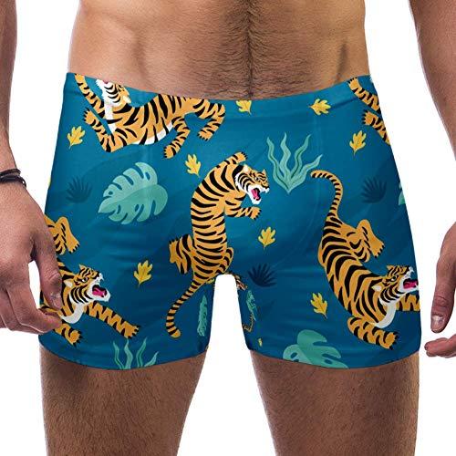 TIZORAX Zwembroek voor heren korte felle tijgers vierkant been badpak ondergoed Jammer Brief