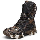YUHAI Botas Militares Hombres Impermeables con Cremallera Lateral, Alto Resistente al Desgaste Antideslizante para el Trekking Senderismo Camping Zapatos de Camuflaje,Brown-44(UK 10)