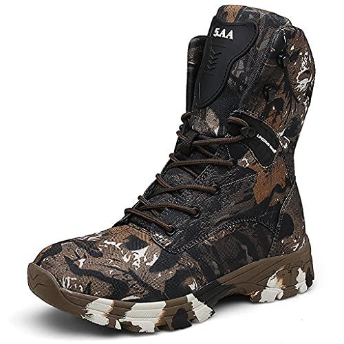 YUHAI Botas Militares Hombres Impermeables con Cremallera Lateral, Alto Resistente al Desgaste Antideslizante para el Trekking Senderismo Camping Zapatos de Camuflaje