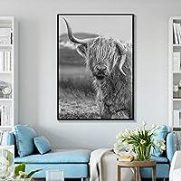 モダンな家の装飾ブラックホワイトハイランド牛のプリントとポスター動物の壁アートスコットランドの牛の写真ファームリビングルーム30x50cmフレームなし