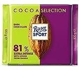 Ritter Sport SPORT Die Starke 81 % aus Ghana, Bitterschokolade mit mind. 81 % Kakao-Anteil, dunkle Schokolade, intensiver Kakaogenuss für Genießer, Tafelschokolade