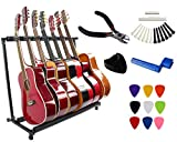 Vizcaya Folding Multiple Guitar Stand for Acoustic Electric Guitar Bass Rack Band Stage,Includes Picks,Pick Holder,String Winder,Bridge Pins,Nut Saddle,String Cutting Plier --7 Holders