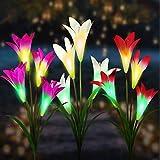 [3 Stück ]Solarleuchte Garten, Vivibel 4 Kopf Lilie Blumen Solarlicht Farbwechsel LED Lampen Lilie Solarlichter mit größerer Blume und Breiterem Solarpanel für die Gartendekoration (Weiß,Pink,Lila)