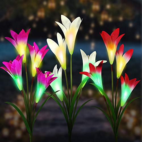 3 Piezas Luces Solares de Flores al Aire Libre, 4 Cabezas Ca