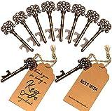 SHUNING 50 Stück Hochzeit Favor Antik Schlüssel-Flaschenöffner + Tags für Baby-Dusche Geschenke für Gäste Party Bankett Bar Supplies (8CM) - 2