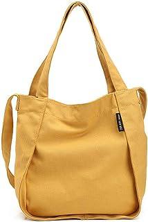 Howoo Damen Segeltuch Einfarbig Schultertasche Mode Handtasche Beiläufig Umhängetasche Tote Gelb