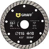 GRAFF® Turbo Disco da taglio diamantato 115 mm, pietra naturale, ceramica, calcestruzzo, piastrelle, pietra, mattoni, mattoni. Disco da taglio per smerigliatrice angolare (115 mm)