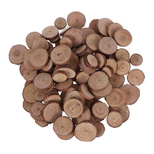 VORCOOL Discos de Madera Redondos Rebanadas de Madera Troncos de Madera Rodajas de Madera para Manualidades DIY Artesanía (100pcs 1.5-3CM)