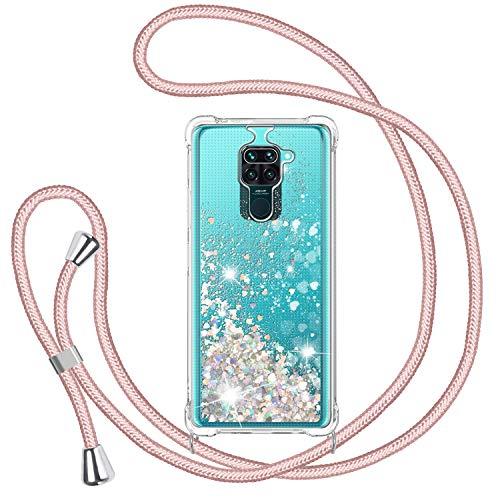 TUUT Handykette Hülle für Xiaomi Redmi Note 9, Glitzer Treibsand Necklace Silikon Stoßfest Handyhülle mit Band Transparent TPU Bumper Schutzhülle mit Kordel zum Umhängen, Quicksand Hülle in Rosé-Gold