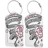 VORMOR Etiquetas para Equipaje,Tattoo Language of Love Music Imprimir,2 Piezas Etiquetas de Equipaje de Viaje Etiquetas de Identificación de la Maleta para Maletas,Mochila