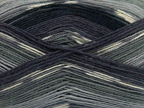(1) 100 Gram Super Sock, Greys, Black, White Self-Patterning Machine Washable Sock Yarn