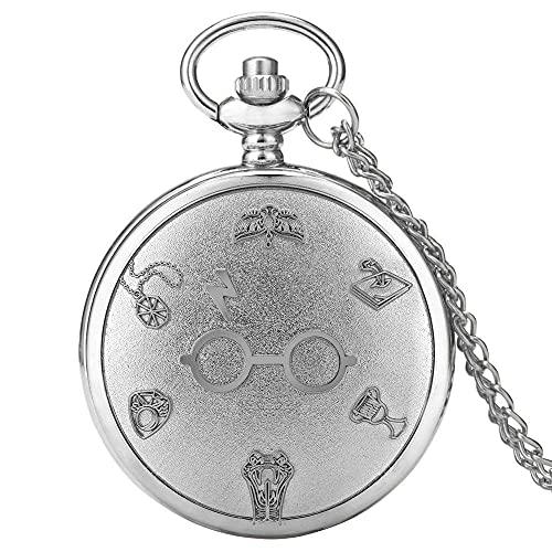 LOOMUCI Reloj de Bolsillo Retro Bronce Harajuku Reloj Rayo Gafas Cuarzo Reloj de Bolsillo Collar Gafas Flash Colgante gráfico Cadena Arte Regalos Antiguos, Plata