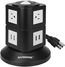 Power Strip, Lanshion Smart 6-Outlet with 4-USB Surge Protection Power Socket 4000W 110-250V Worldwide Voltage Power Strip with 6.5 Feet Cord Suitable for Home/Office (Black) (SA-6+4-Black)