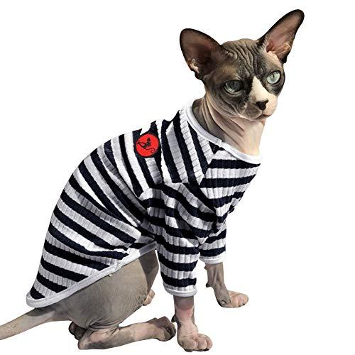 PUMYPOREITY Sphynx Haarlose Katze Baumwolle Kleidung niedlich atmungsaktiv Baumwolle T-Shirts Haustierkleidung Rundkragen Weste Kätzchen Shirts weiche hautfreundliche Bekleidung(Blau, S)