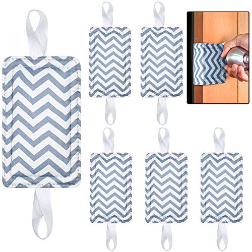 6 Pieces Door Silencer Door Jammer Door Closer Cushion with Elastic Straps Nursery Door Stopper for Reducing Noise Quiet Doors (Grey Chevron)