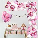 APERIL 117 PCS Palloncini Kit Ghirlanda Arco Palloncini Rosa Bianchi Metallizzato Confetti Palloncini e Farfalle 3D Decorazione per Ragazze Festa Compleanno, Matrimonio, Anniversario, Baby Shower