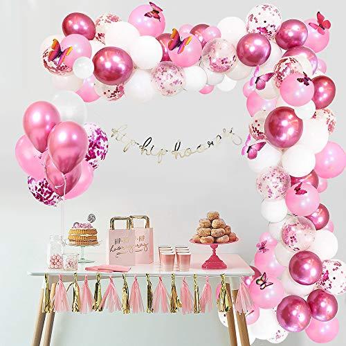 APERIL Kit de Guirnaldas de Globos 117 Piezas Globos de Cumpleaños y 3D Mariposas Decoración Arcos de Globos Metálicos Rosa Blanco Confeti para Niña Decoración de Boda Cumpleaños Fiesta Comunion