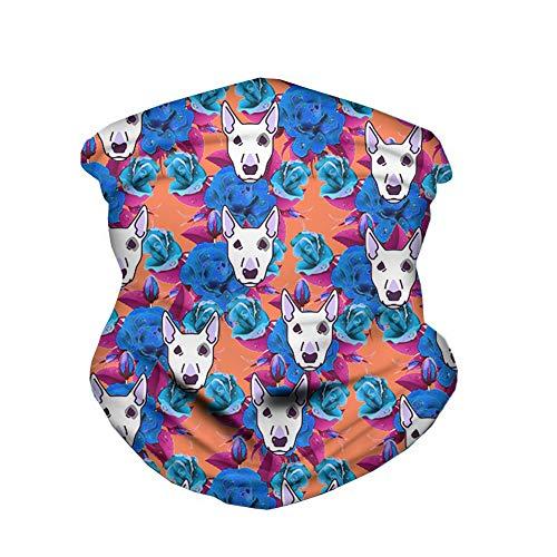 ECONG Bull Terrier Bandana Multifonction Guêtres de Cou Écharpe sans Couture Gaiter Neck Rapide Écharpe Salive Dust UV Outdoor Cycling Camping Randonnée