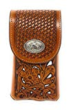Texas West Western Cowboy Tooled Floral Leather Horse Concho Belt Loop Cell Phone Holster Case in 4 Colors (Brown/Beige)