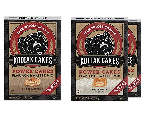 Kodiak Cakes Protein Pancake Power Cakes Variety Pack, Flapjack and Waffle Baking Mix,2 Buttermilk & 1 Chocolate Chip