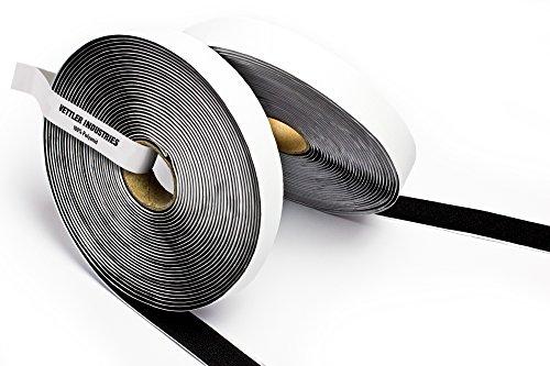 Purovi® Klettband selbstklebend, Meterware, Flausch & Haken, 20mm breit, schwarz