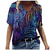 Fcostume - Camisetas de verano sueltas para mujer, adolescentes, divertidas, coloridas, con cuello en V, retro, 3D, manga corta, informal, para adolescentes y niñas azul marino 40
