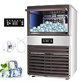 Z ZELUS Kommerzielle Eismaschine 88kg / 24h Eiswürfelbereiter Kommerzielle Eiswürfelbereiter Edelstahl mit LCD Bildschirm