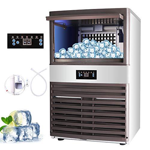 Z ZELUS Macchina per Il Ghiaccio Commerciale Fabbricatore Ghiaccio con Schermo LCD Macchina per Cubetti di Ghiaccio per Casa, Ufficio, Ristorante, Bar, Caffetteria (88.5kg/ 24 ore)