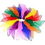 TOMYEER 14 Piezas Bufandas de Baile Pañuelos de Colores, Cuadrados