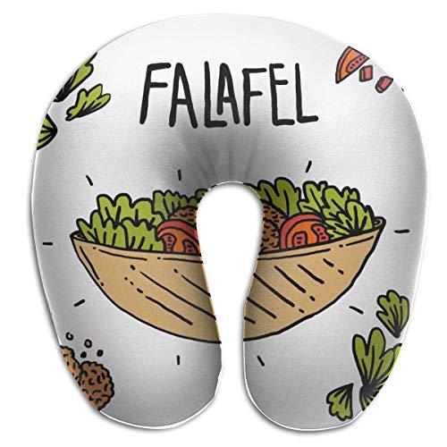 Almohada de viaje en forma de U Falafel dibujado a mano con ingredientes en forma de V Adultos Estudiantes Almohada Travell transpirable en forma de U Cabeza linda Almohada de apoyo para el cuello Co