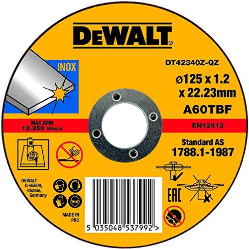 Dewalt - Disco abrasivo para cortar acero inoxidable plano 125x1x22,2 mm