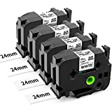 Airmall Compatible Label Tape Replacement for Brother TZ TZe-251 TZe251 P Touch Tape 24mm 0.94 Inch TZe Tape Laminated Black on White for Brother P-Touch PT-D600 PT-P710BT PTP750W Label Maker,4-Pack