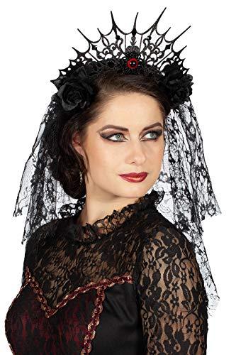 Wilbers & Wilbers Gothic Tiara Haarreif mit Schleier Rosen Schmucksteinen Fantasy Haarschmuck Halloween Krone