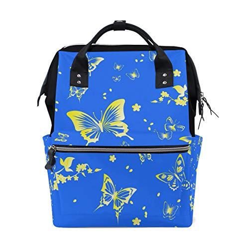 ALINLO Vlinder met bloemenprint luiertas luierrugzak met grote capaciteit multifunctionele Pushchair riemen mama tasjes voor reizen babyverzorging