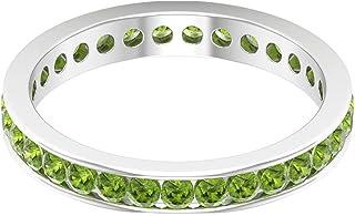 Rosec Jewels - Anillo de banda de peridoto creado en laboratorio de 1,55 quilates, banda de eternidad de canal, anillos de...