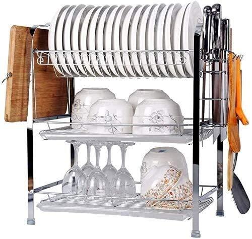 Multipurpose Dish Drying Rack, Kitchen Bakeware Organiser - Steel Baking Tray Rack Storage Dish Drying Rack Dish Drainer Rack(3-Tier) 720