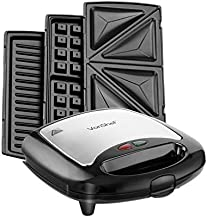 VonShef 220 240 Volts 3 in 1 Sandwich/Panini Maker, Waffle Iron & Grill with Removable Plates - 700W - Stainless Steel | Bundled W/Dynastar Plug Adapters | 220v 240v (NOT FOR USA)